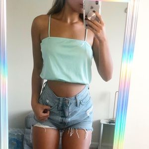 Mint Square-neck Crop Top